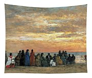 Figures On The Beach In Trouville Tapestry