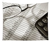 Financial Spreadsheet With Calculator And Glasses Tapestry