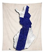 Finland Map Art With Flag Design Tapestry