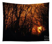 Fire In The Woods Sunset Tapestry