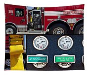 Fire Truck With Isolated Views Tapestry
