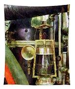 Fireman - Lantern On Fire Truck Tapestry