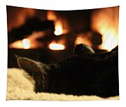 Fireside Cat Nap Tapestry