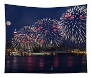 Fireworks And Full Moon Over New York City Tapestry