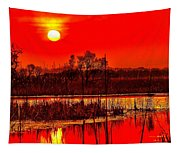 Firey Dawn Over The Marsh Tapestry
