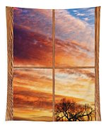 First Dawn Barn Wood Picture Window Frame View Tapestry