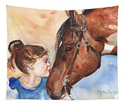Horse Painting Of Paint Horse And Girl First Kiss Tapestry