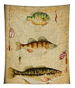 Fish Trio-c-basket Weave Tapestry