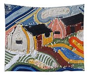 Fishermans Cottages String Collage Tapestry