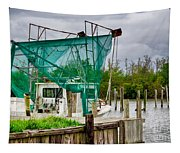 Fishing Boat And Pelicans On Posts Tapestry