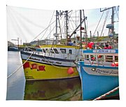 Fishing Boat Reflection In Branch-newfoundland-canada Tapestry