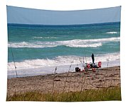 Fishing On The Beach Tapestry