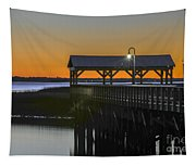 Fishing Pier At Dusk Tapestry