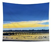 Fishing Pier At Sunset Tapestry