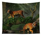 Fishing Tigers Tapestry