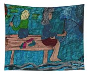 Fishing Under The Evening Sky On A Cool Autumn Night Tapestry