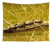Five Turtles On A Log Tapestry