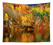 Flaming Autumn Abstract Tapestry