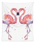 Flamingo Love Watercolor Tapestry by Olga Shvartsur