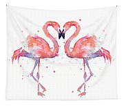 Flamingo Love Watercolor Tapestry