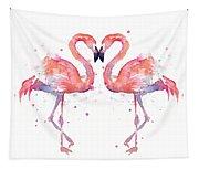 Flamingo Love Watercolor Tapestry