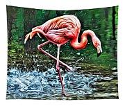 Flamingo Splash Two Tapestry