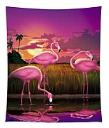Flamingoes Flamingos Tropical Sunset Landscape Florida Everglades Large Hot Pink Purple Print Tapestry