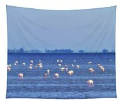 Flamingos In The Pond Tapestry
