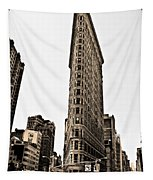 Flat Iron Building In Sepia Tapestry