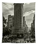 Flatiron Building - Black And White Tapestry