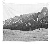Flatirons Boulder Colorado Winter View Bw Tapestry