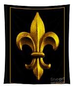 Fleur De Lis In Black And Gold Tapestry