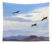 Flight Of The Sandhill Cranes Tapestry