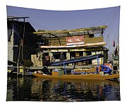 Floating Shop Along With Another Shop On Floats In The Dal Lake Tapestry