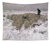 Flock Of Sheep In The Snow Tapestry