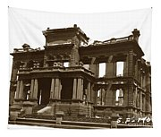 James Clair Flood Mansion Atop Nob Hill San Francisco Earthquake And Fire Of April 18 1906 Tapestry