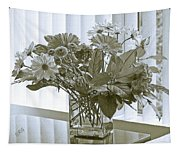 Floral Arrangement With Blinds Reflection Tapestry