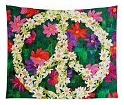 Floral Peace Pop Art Tapestry