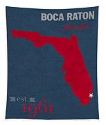 Florida Atlantic University Owls Boca Raton College Town State Map Poster Series No 037 Tapestry