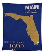 Florida International University Panthers Miami College Town State Map Poster Series No 038 Tapestry