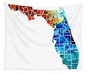 Florida - Map By Counties Sharon Cummings Art Tapestry