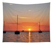 Florida Sailboat Sunset Tapestry