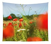 Flower Meadow In Summer With Red Poppy Tapestry