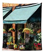 Flower Shop With Green Awnings Tapestry