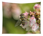 Flowerfly Pollinating Blueberry Buds Tapestry