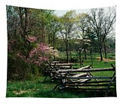 Flowering Trees In Bloom Along Fence Tapestry