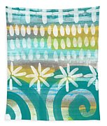 Flowers And Waves- Abstract Pattern Painting Tapestry