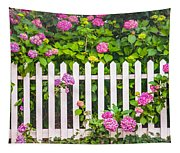 Flowers - Floral - White Picket Fence Tapestry