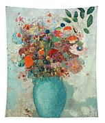 Flowers In A Turquoise Vase Tapestry