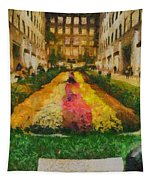 Flowers In Rockefeller Plaza Tapestry